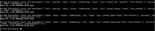 Wprowadzanie przykładowych danych do tabeli MySql