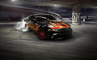 Black Mustang Fire Vinils Burnout HD Wallpaper