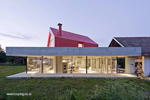 Perfil de una casa residencial contemporánea de diseño original