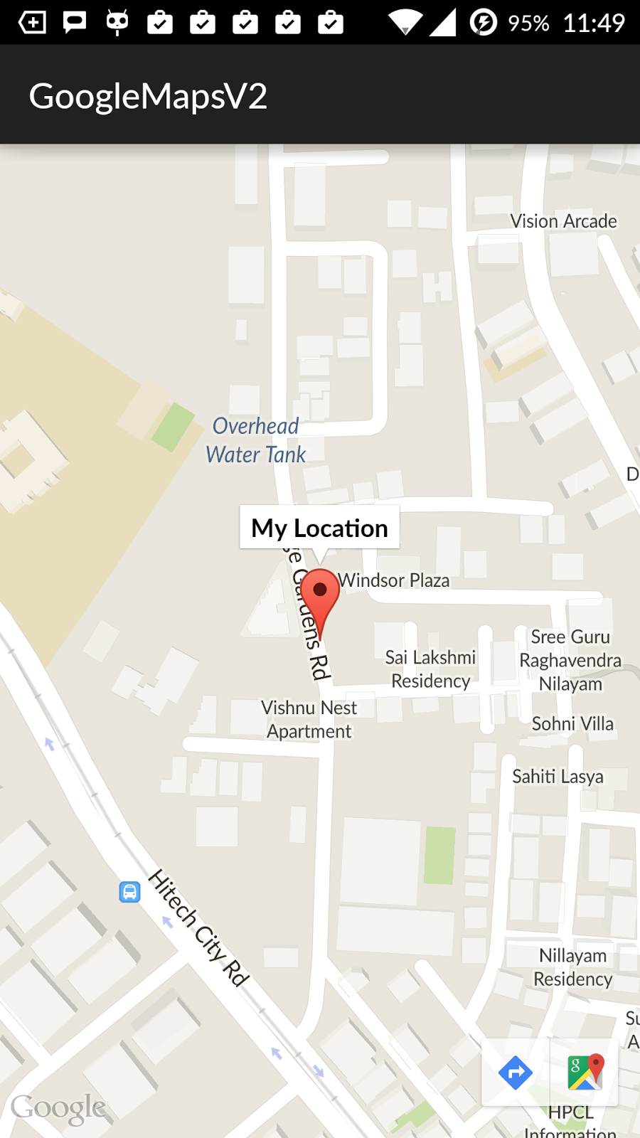 tuesday  may . ramsandroid showing current location with marker in google maps