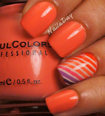 NailaDay: Sinful Colors Island Coral with Gradient Stripes