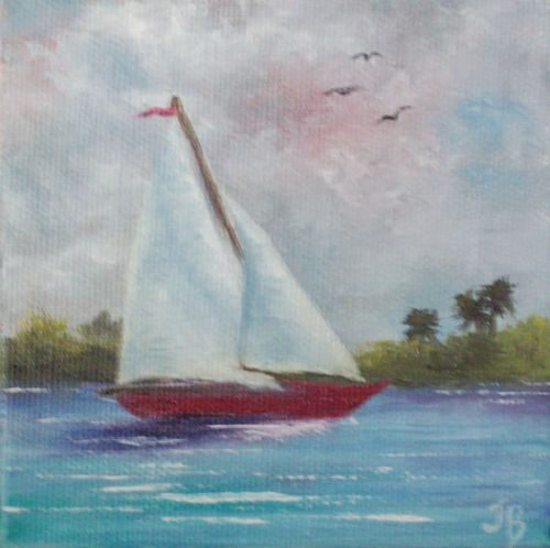 Ponce Inlet Sailboat Small Florida Oil