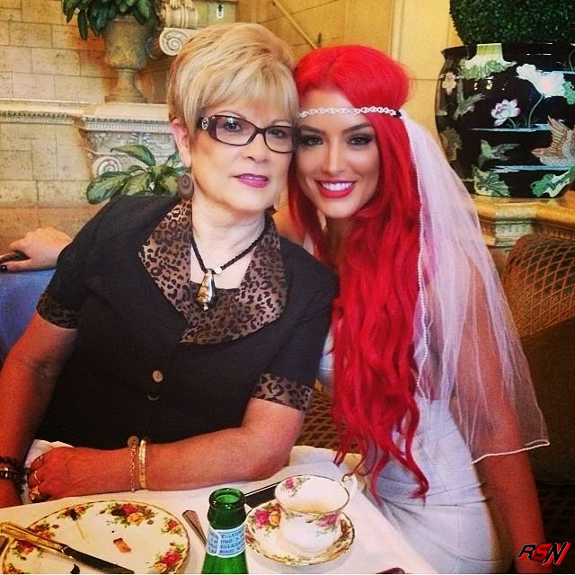 Eva Marie and Her Mother at Her Bridal Shower.