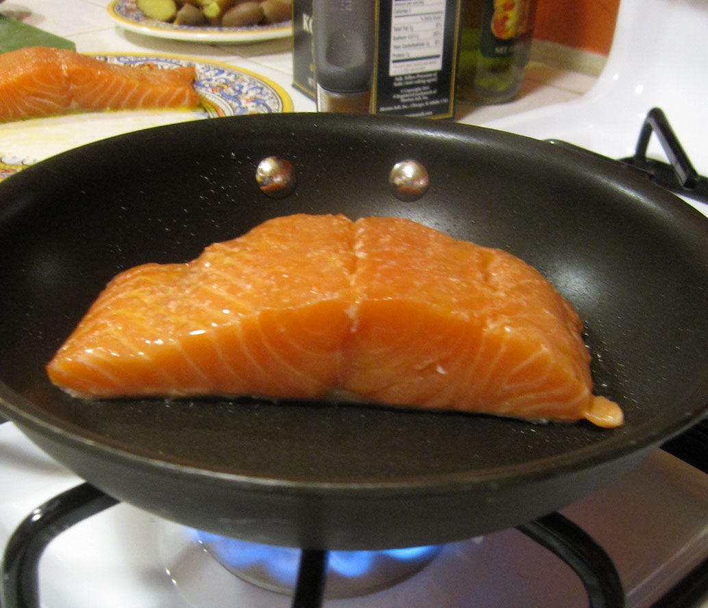 With The Photo Above You Can See That I've Just Added The Salmon To How To  Grill Chicken On Stovetop (easy