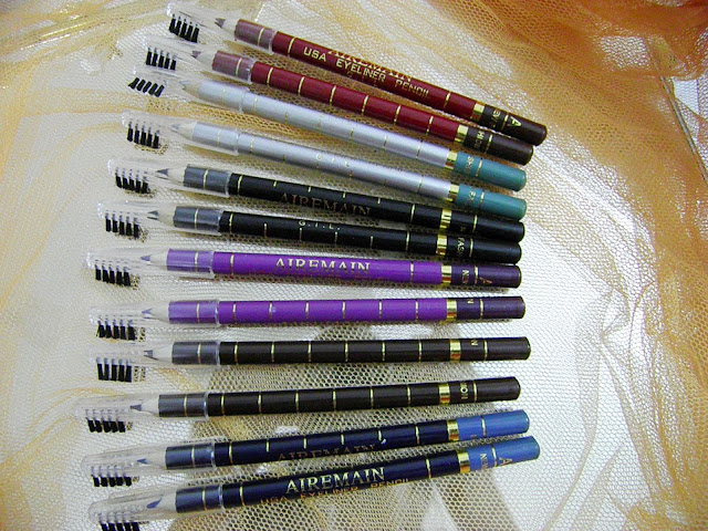 12 One side Eyeliner Pencils with Brush Eyeliner by Romwe