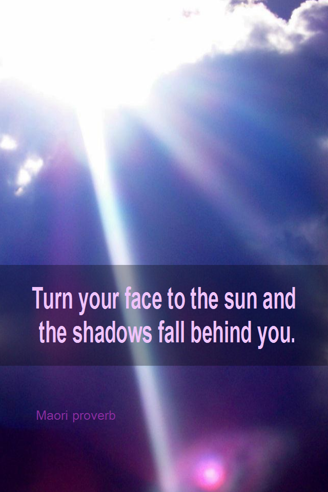 visual quote - image quotation for OPTIMISM - Turn your face to the sun and the shadows fall behind you. - Maori proverb