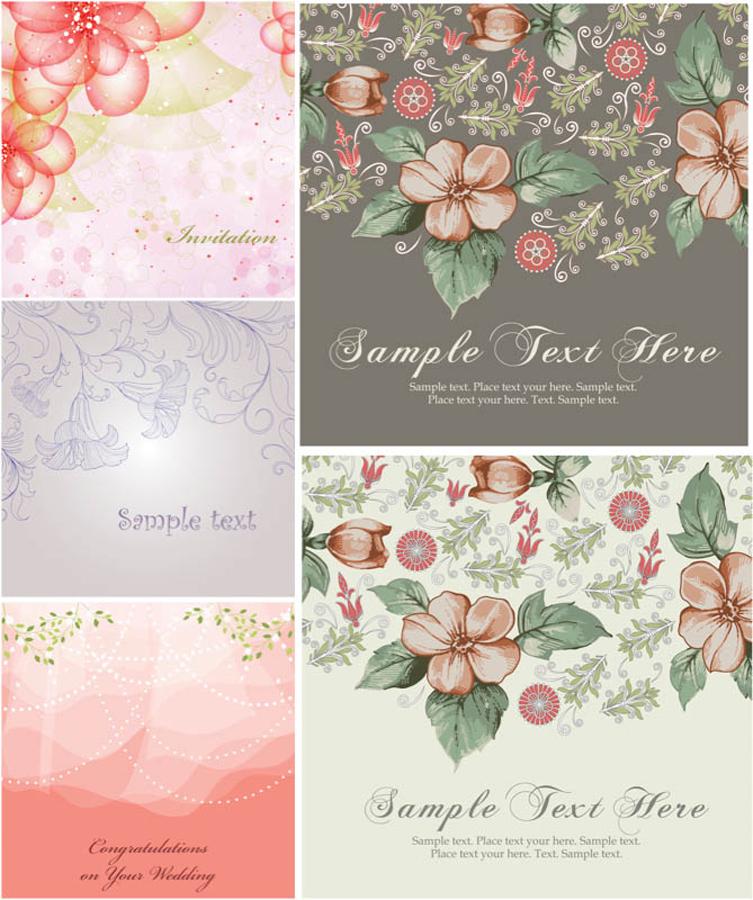 花模様のヴィンテージ カード背景 decorative flowers on the background and place for your text イラスト素材