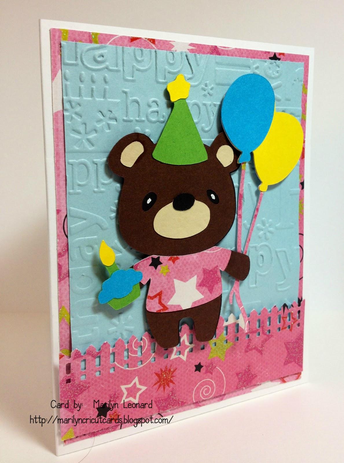Marilyns Cricut Cards Teddy Bear Parade Birthday