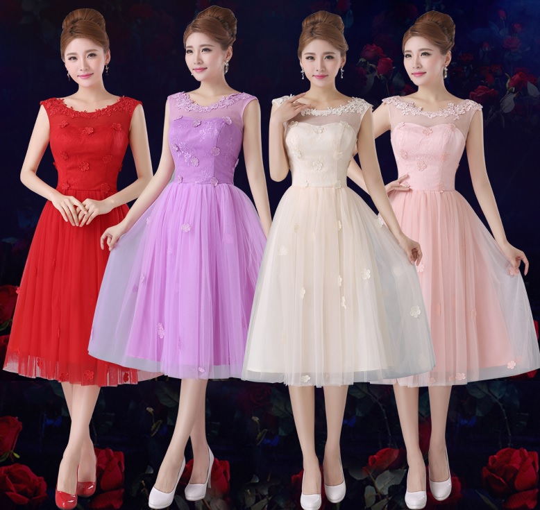 4-Color Sleeveless Tutu Floral Lace Past Knee Length Bridesmaid Dresses