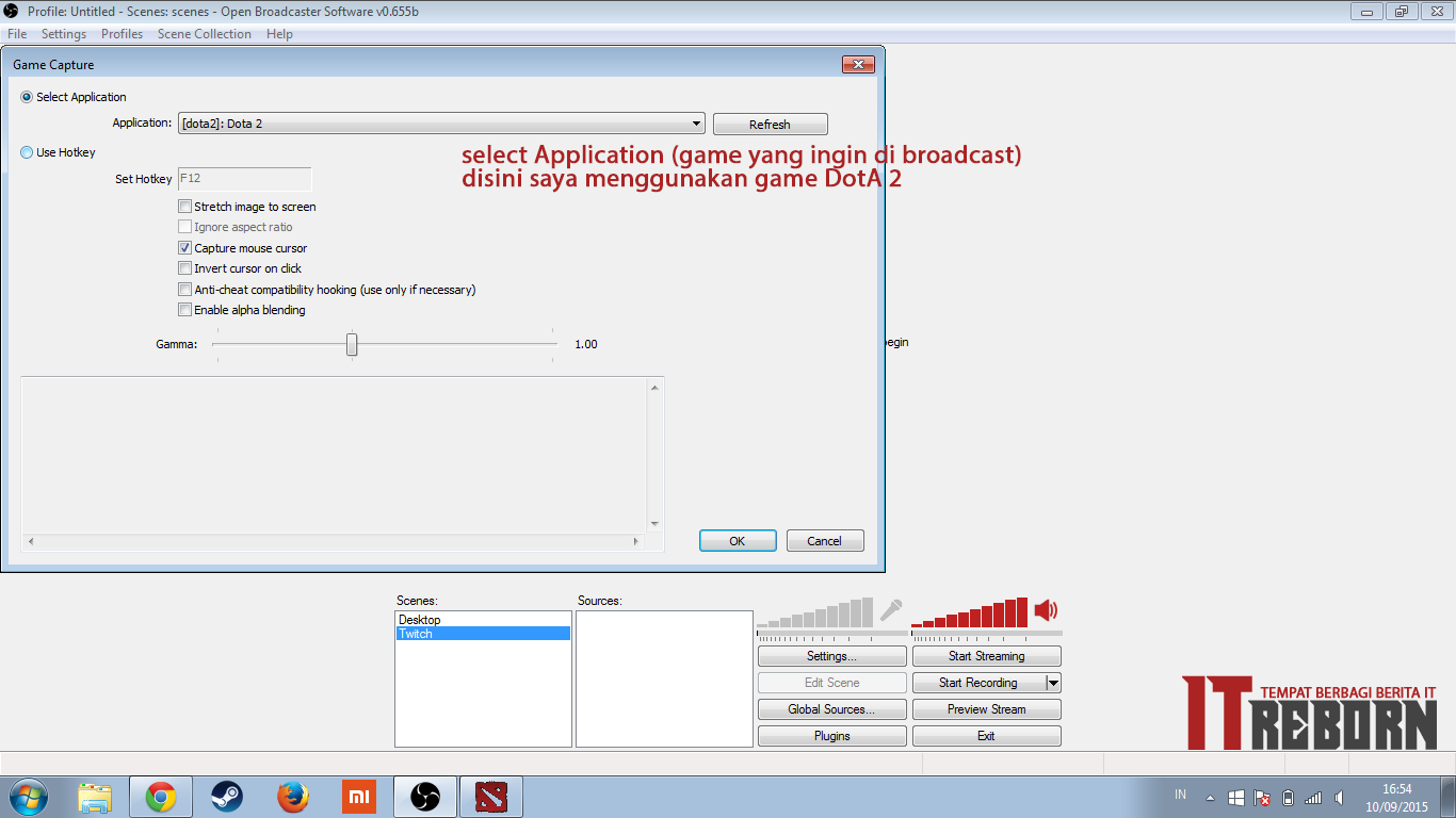 Cara Streaming Di Twitchtv Menggunakan OBS Open Broadcaster Software IT REBORN