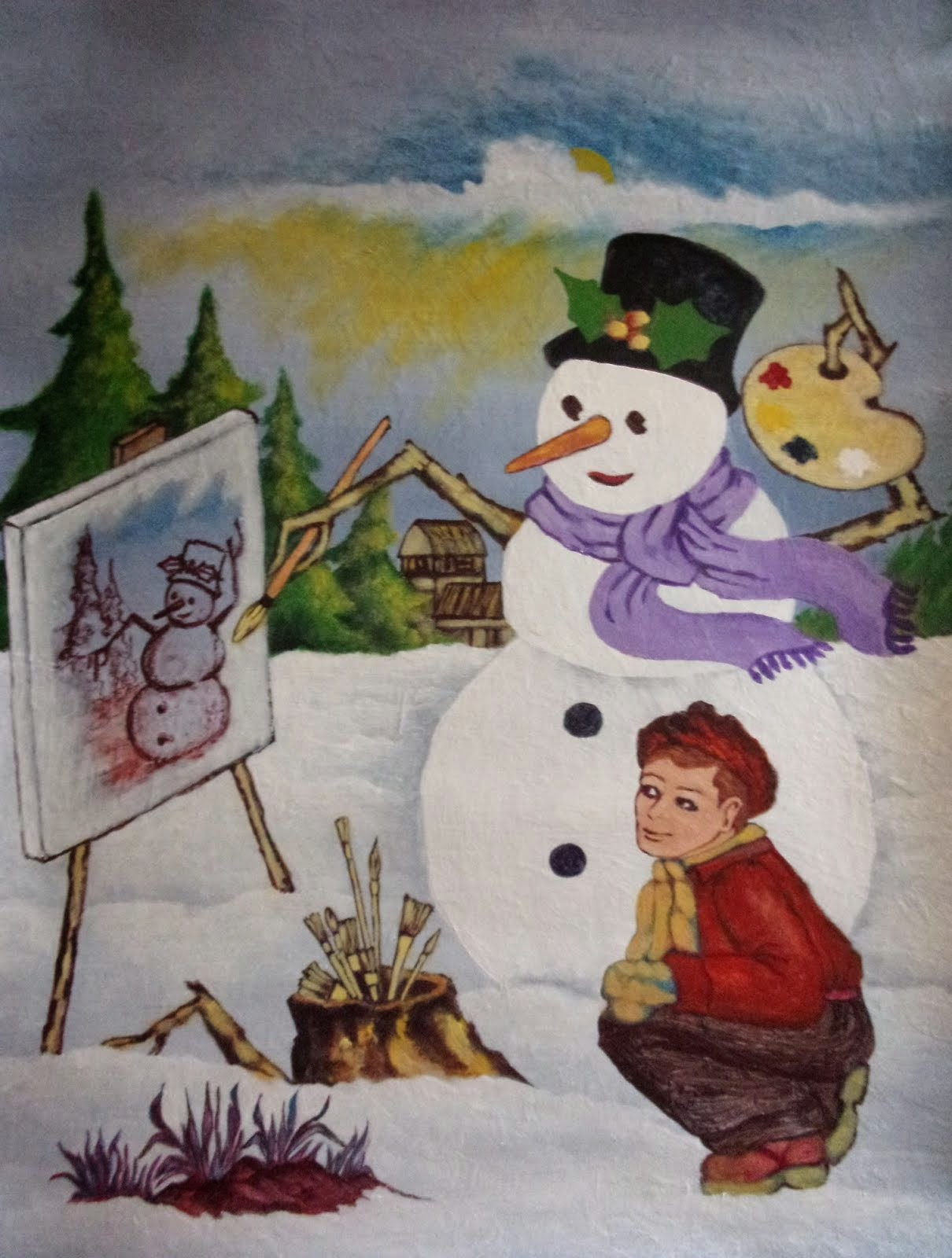 Snow Man Artist  /Large  poster for sale.