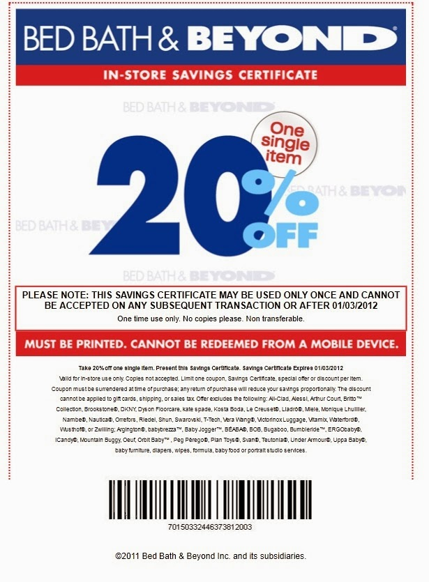Bed bath and beyond coupons printable 5 off