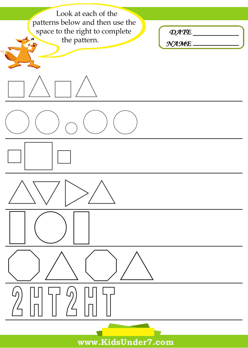Kids Under 7: Pattern Recognition Worksheets