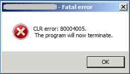 How to fix computer CLR error 80004005