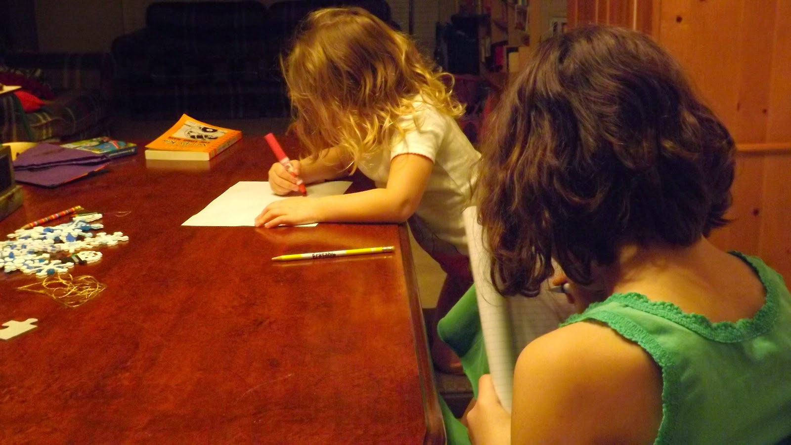 Crafting and coloring with my children while I art journaling in my Bible.