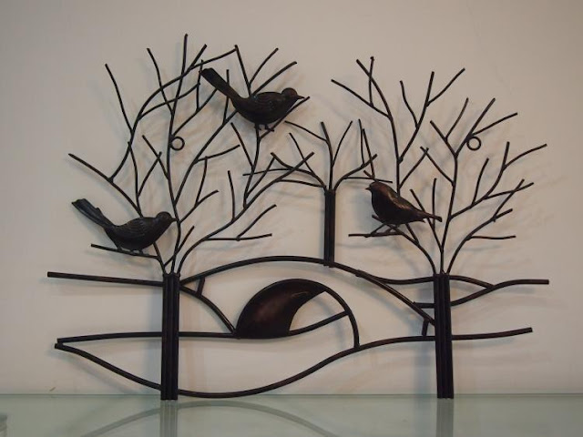 Rustic Metal Tree Branch With Birds Wall Art