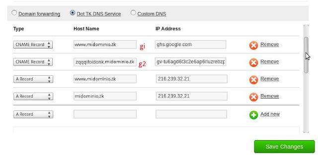 Configuración registros dns dominio tk