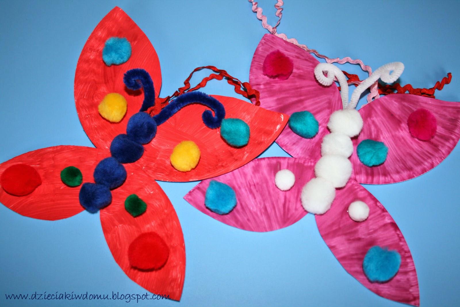 kreatywne motyle z talerzyków papierowych, praca plastyczna dla dzieci