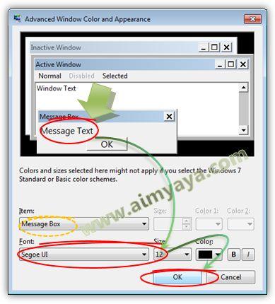 Gambar: Mengganti ukuran dan jenis teks pada dialog di windows