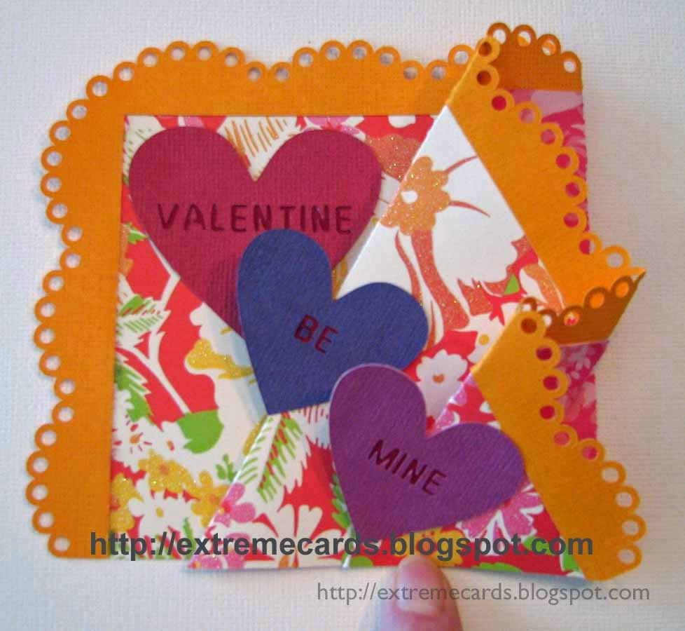 finished valentine trifold card