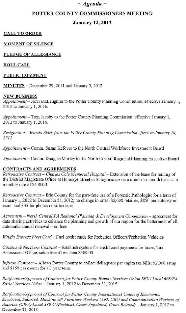 Potter County Commissioners Agenda For January 12 2012 Meeting