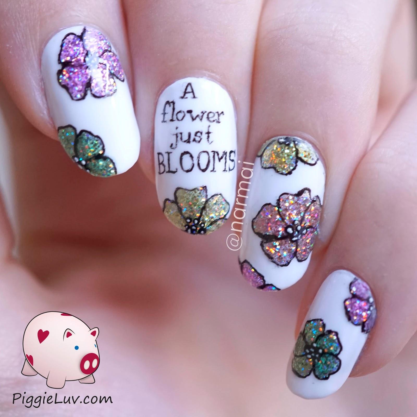 PiggieLuv: \'A flower just blooms\' glitter nail art