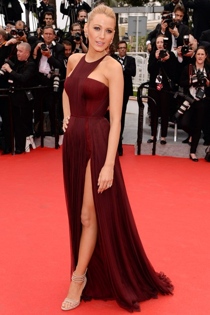 Blake Lively accessorised her Gucci Première gown with jewellery by Lorraine Schwartz and Casadei heels at Cannes 2014
