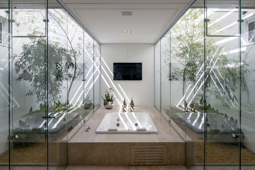 Modern bathroom with indoor gardens