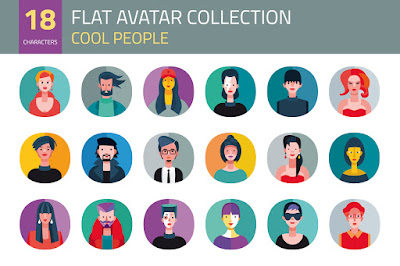 https://creativemarket.com/Jesussanz/29769-Flat-Avatar-Collection.-Cool-People