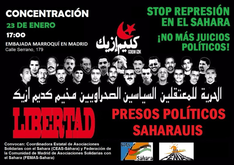 23 enero Solidaridad presos saharauis