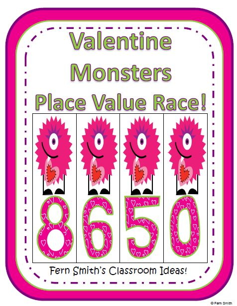 http://www.teacherspayteachers.com/Product/Place-Value-Race-Game-Valentine-Monsters-By-Fern-Smith-468081