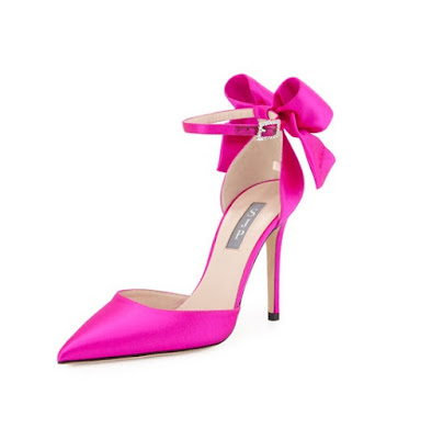 Sarah Jessica Parker pink ankle strap shoes with bow