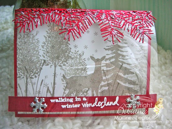 acetate winter scene with stamps
