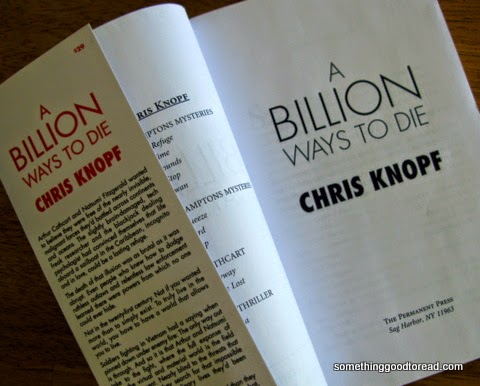 Photo of title page from Chris Knopf's book, A Billion Ways to Die