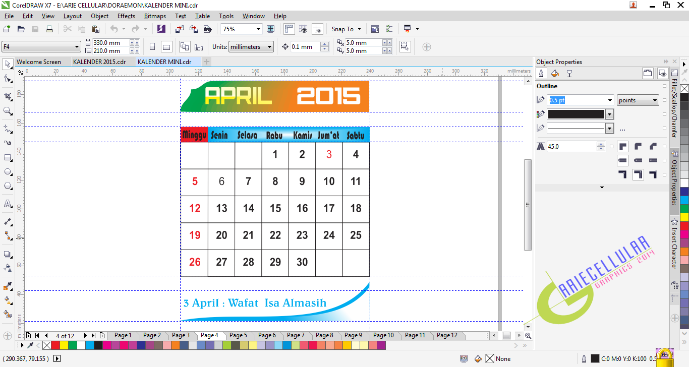 ARIE CELLULAR: Kalender Mini 2015
