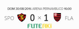 O placar de Sport 0x1 Flamengo pela 21ª rodada do Brasileirão 2015