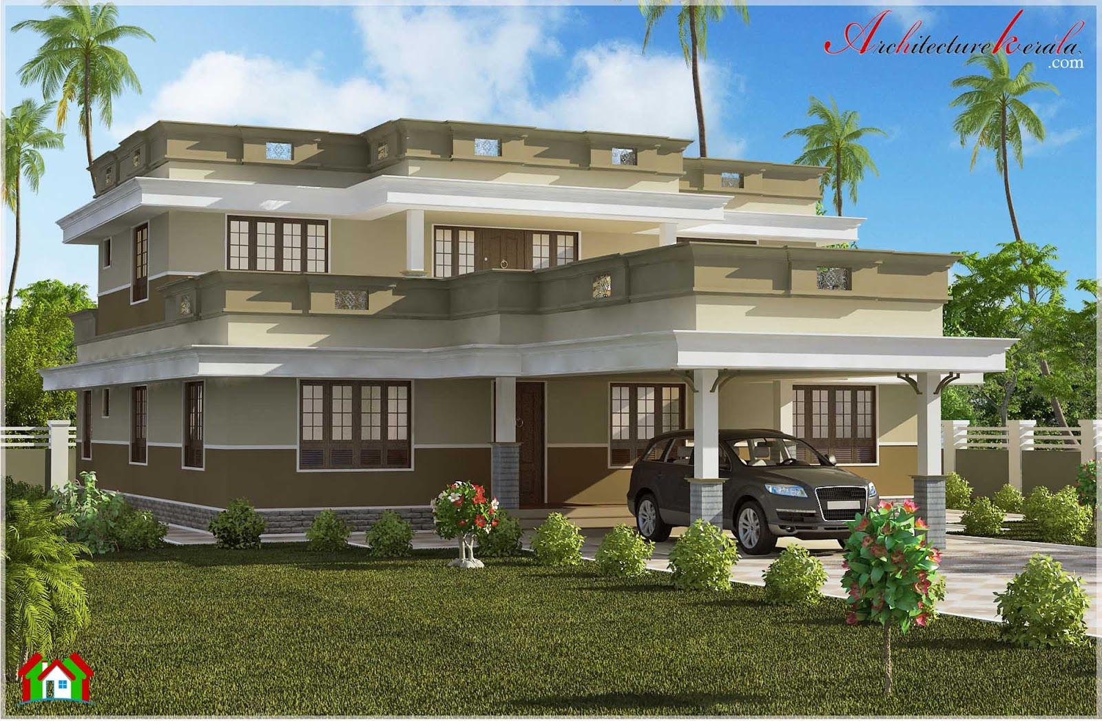 Beautiful flat roof home design architecture kerala for Flat roof house plans kerala