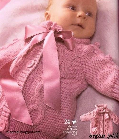Pembe Örgü Bebek Hırkası Yapılışı