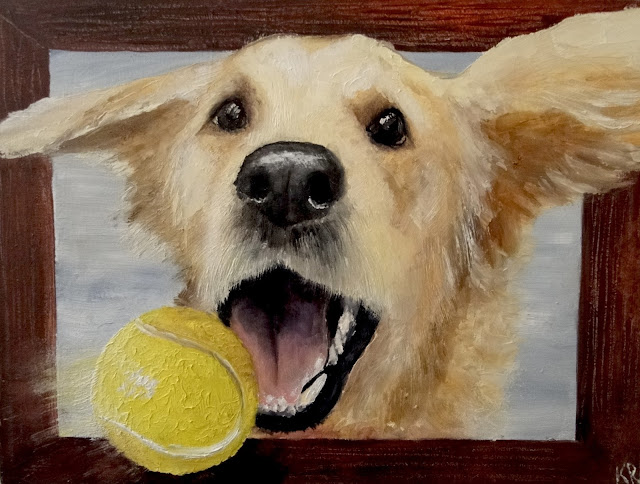 Gotcha! Trompe l'oeil oil painting of a golden retriever catching a ball