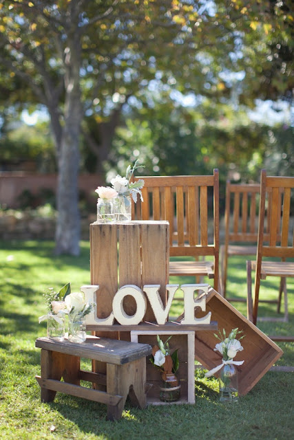 rustic wedding display with wooden crates