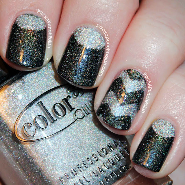 Black and silver holographic half moons and chevrons nail art