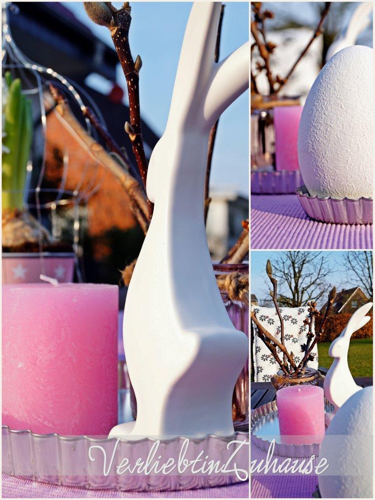 Frühlingswetter und Osterdeko mit Hase und Ei aus Porzellan, rosa Kerze und im Hintergrund Becher von Krasilnikoff mit Hyazinthe