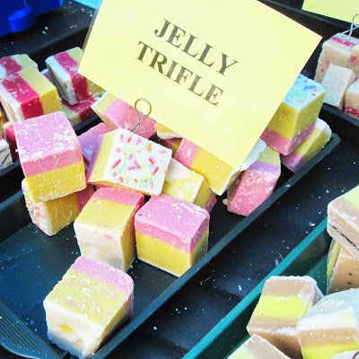 Jelly trifle flavour fudge at the stafford wildlife fair at stafford castle. It's a fudge thing. On the left is Cherry bakewell flavour on the right is banoffee flavour.