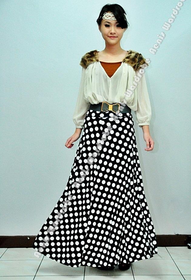 real polka maxi skirt muslimah dress up