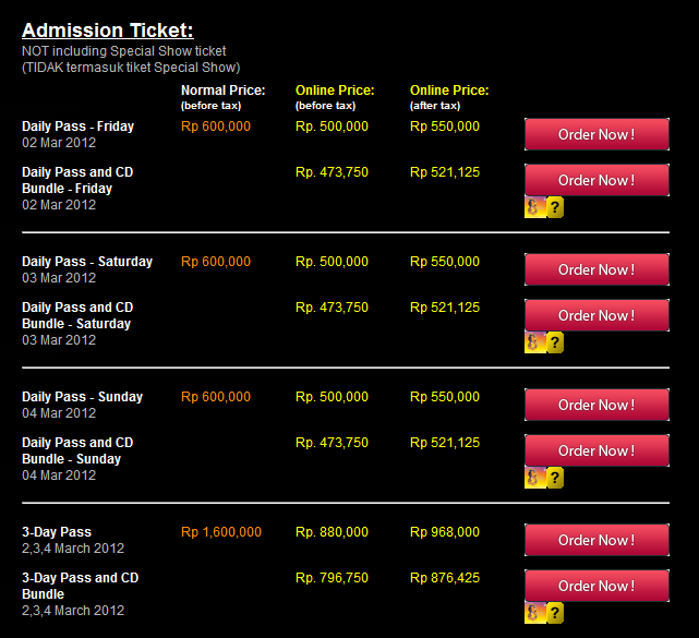Harga Tiket Java Jazz 2012
