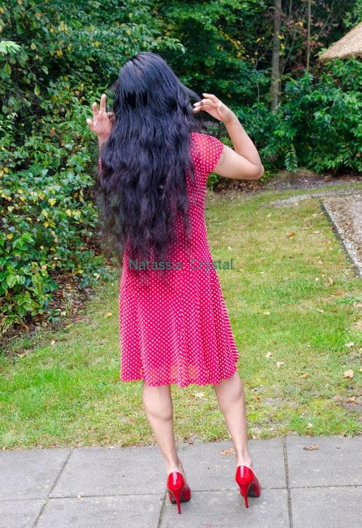 Natassia Crystal natcrys, red polka-dot dress, backside long hair