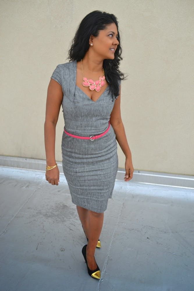 asos dress grey dress pink bib necklace