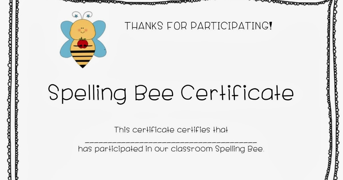 C Is For Creative Classroom Spelling Bee Certificate Freebie