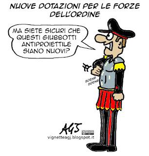 Polizia, Carabinieri, terrorismo, vignetta satira