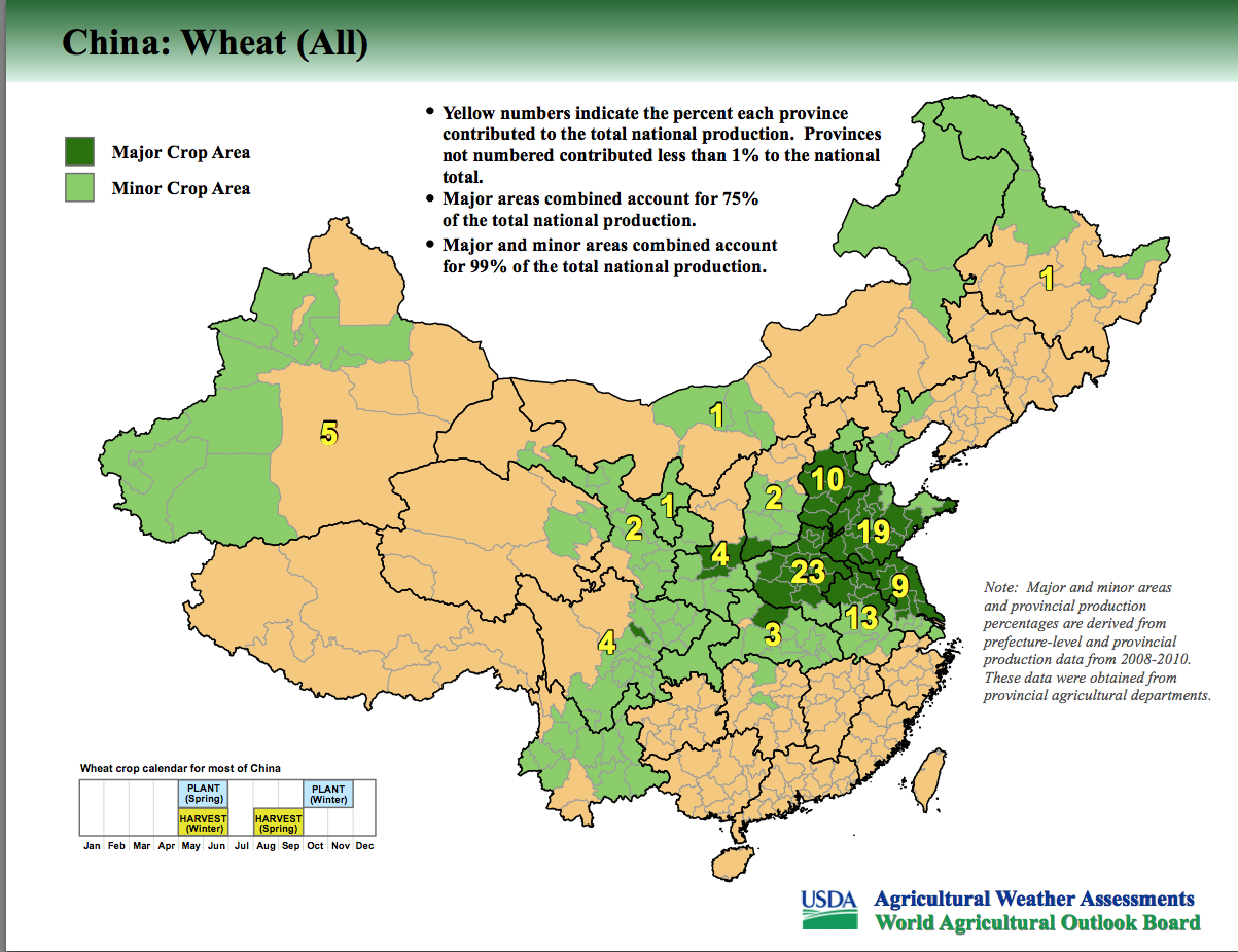 Wheat Production In China X  MapPorn - Us wheat production map